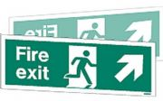 W438DST - DOUBLE-SIDED FIRE EXIT SIGN DOWN TO THE RIGHT OR LEFT.